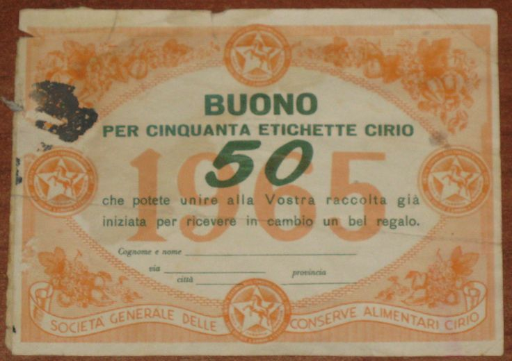 BUONO SCONTO - PUBBLICITA' - CIRIO - 1965