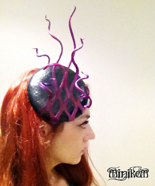 Leather cocktail beret hat. Handmade/sculpted by Emily Makris, Minikem #millinery