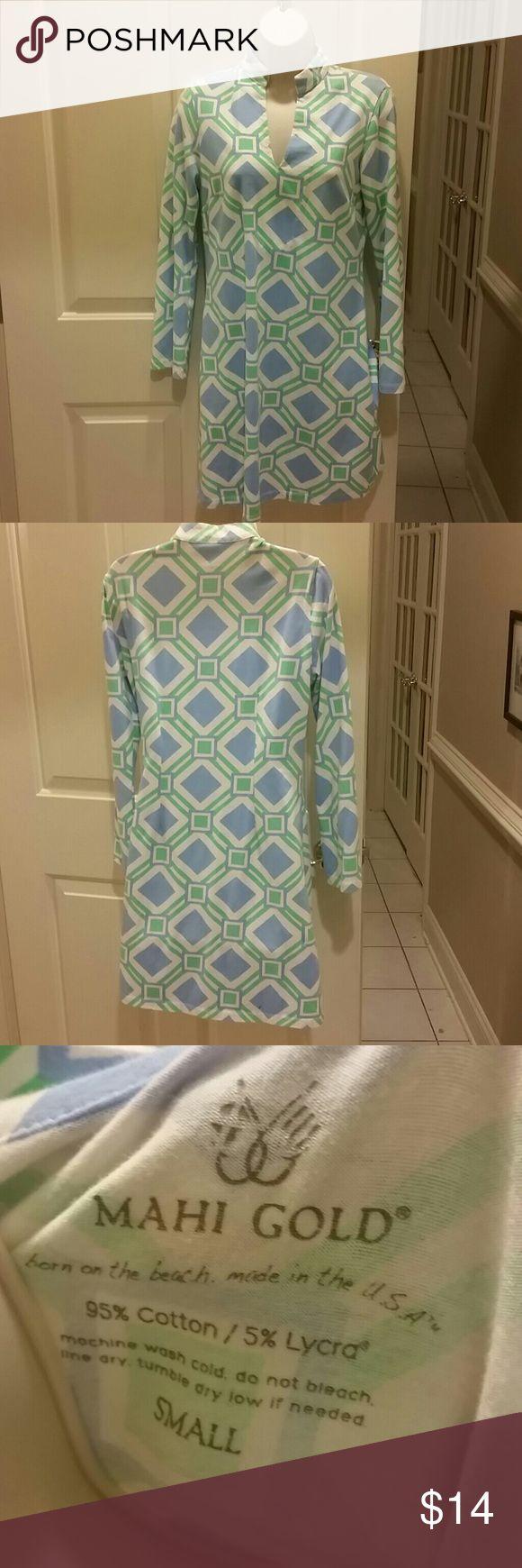 Mahi gold beach dress Blue and green geometric pattern beach dress coverup.  95% cotton 5% lycra.  Very soft mahi gold Dresses Midi