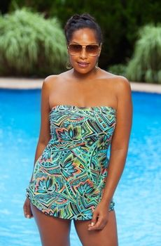 Womens Plus Size Swimwear - Always 4 Me - Island Bandeau Sarong 1 Pc Swimsuit