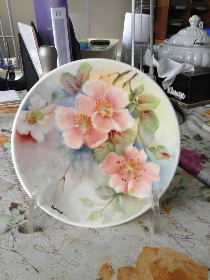 """Wild Rose""  First piece of Porcelain Painting"