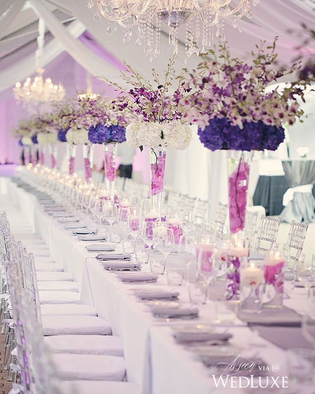 95 best purple inspiration images on pinterest wedding decor alternating purple and white orchid filled centrepieces created a striking floral runner like on this dining table we love how the crystal decor accents junglespirit Choice Image