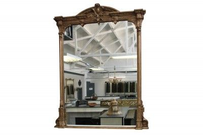 Large and impressive Victorian gilt wood overmantle mirror