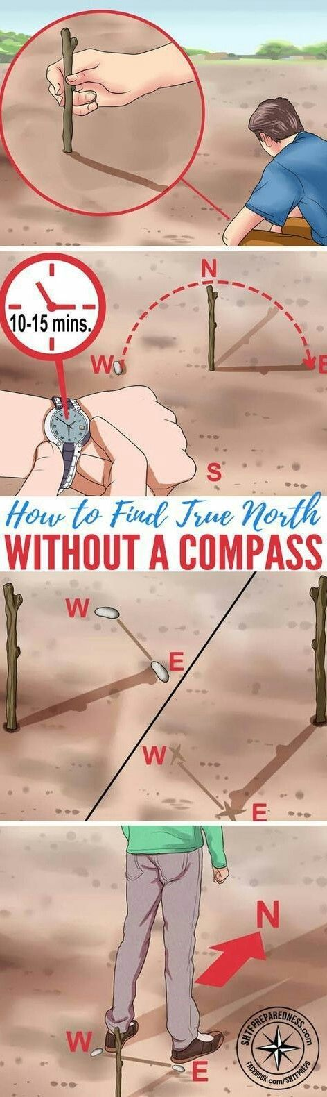 How to Find True North Without a Compass — Basic survival skills are essential for anyone living off the grid in the wilderness, whether it's by choice or in a SHTF situation. When you need to navigate without landmarks, technology, or compass, how to find true north. Survival tips. Outdoors, hiking, camping, backpacking, navigation. Essentials.