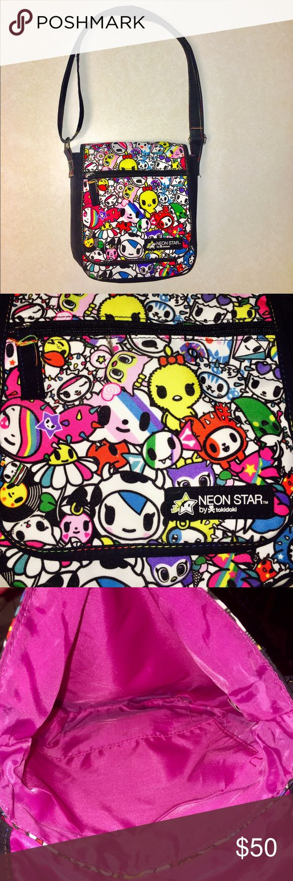 """Brand TokiDoki Crossbody Purse  Brand new without tags & in flawless condition! This Crossbody purse measures 8"""" across, & 9.5"""" from top to bottom. Super kawaii anime-like print with vibrant colors. Neon Star for TokiDoki Limited Edition. Compartment inside purse, as well as zip-close pouch on opening flap. Magnetic closure for main part of the purse. Adjustable strap w/ neon accents Bags Crossbody Bags"""