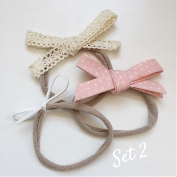 5a88156a3ff6f Set of Baby Headbands/ Floral Bow Headband/ Faux Leather Bow/ Lace ...