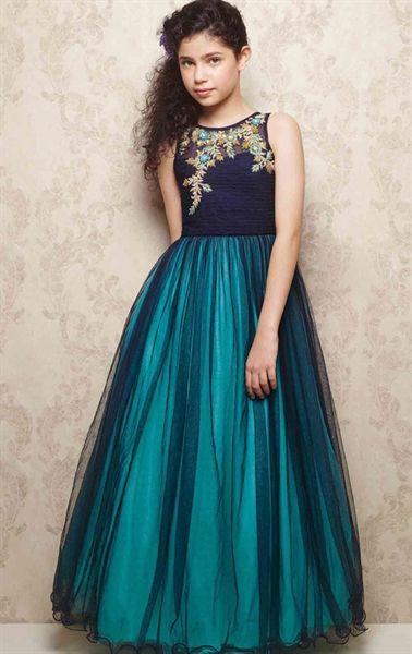 Picture of Aesthetic Aqua Blue Kids Designer Gown