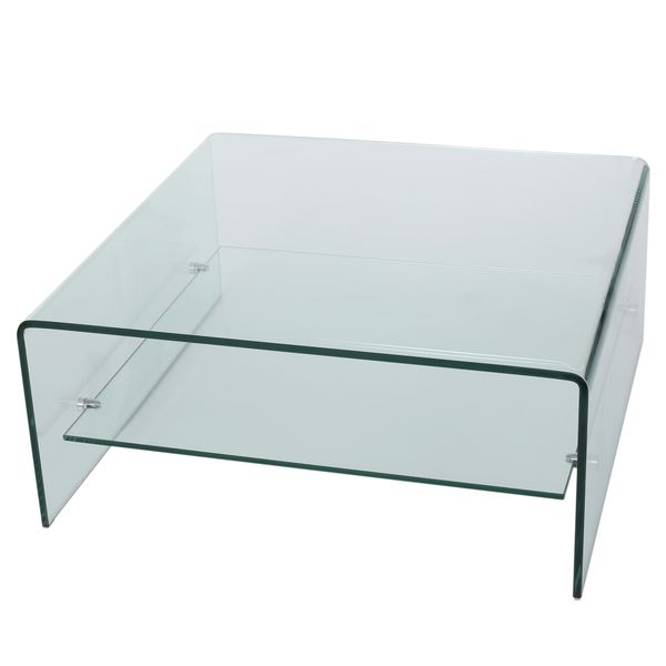 Christopher Knight Home Ramona Square Glass Coffee Table With Shelf