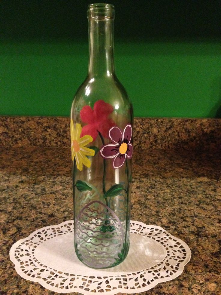 56 best painted wine bottles images on pinterest painted for Painting flowers on wine bottles