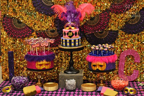 Amazing Masquerade Birthday Party tablescape on www.prettymyparty.com.