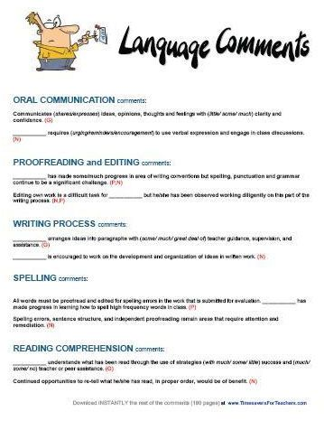 Student report writing for teachers