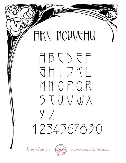 Art Nouveau script – Art nouveau script for download | WUNSCHBRIEFE – calligraphy and handlettering – courses – Elke Wunsch