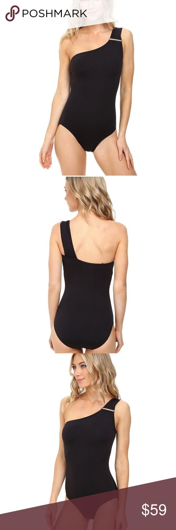 Michael Kors Womens Villa Del Mar Michael Kors Womens Villa Del Mar Logo Bar One-Shoulder One-Piece Size 6  MICHAEL Michael Kors Women's Swimwear Size Chart Dive into the deep blue waters with this alluring swimwear. One-piece swimsuit in a bold solid. One- shoulder design with brand-engraved hardware. Removable contour pads provide support and shape. Detachable strap at right. Moderate rear coverage. 85% nylon, 15% spandex.Cups: 100% polyurethane.Lining: 92% polyester, 8% spandex. Michael…