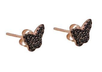 Handmade stud butterfly earrings 925o with pink gold plated silver 925o and black zircon.  Χειροποίητα καρφωτά σκουλαρίκια πεταλούδες από ροζ επιχρυσωμένο ασήμι 925ο με μαύρα ζιργκόν@ http://bit.ly/1BxdYsh