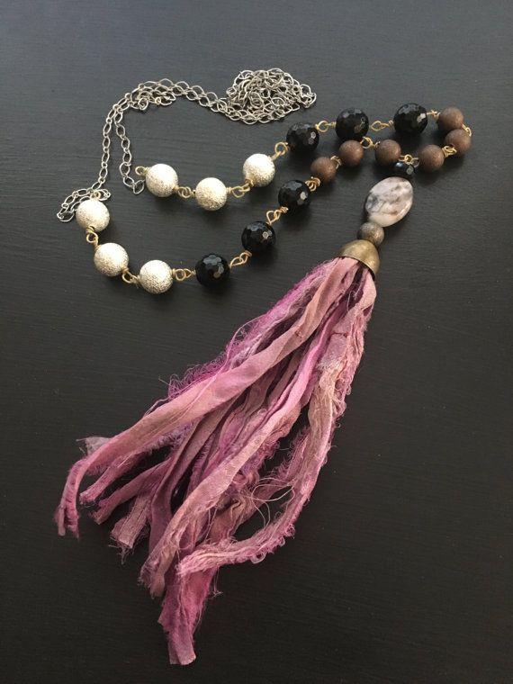 Rosa Seide Sari Ribbon Quaste Halskette Boho Trend von blossomshop