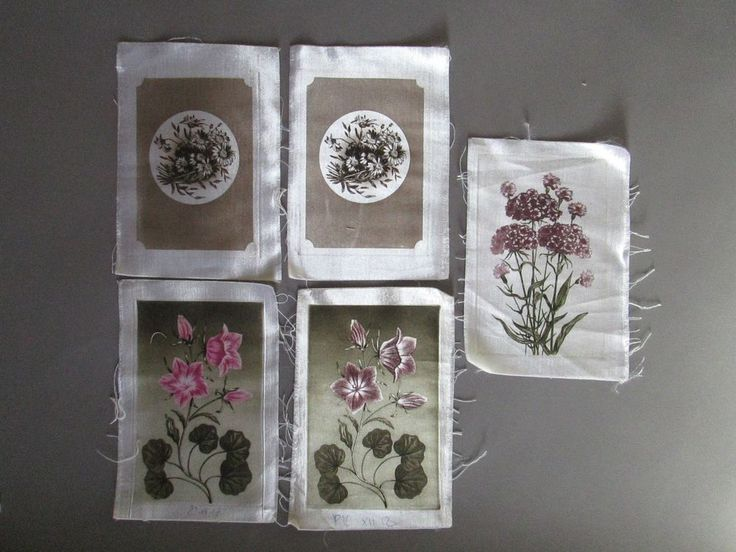 5 vtg Hungarian Etchings on Silk Plant Evening Stock Carnation Camomille Flower #Vintage