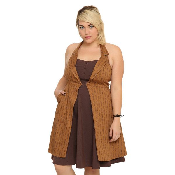 Hot Topic Doctor Who Regeneration Dress Plus Size ($60) ❤ liked on Polyvore featuring dresses, plus size brown dress, halter dress, plus size dresses, brown dress and plus size halter dress