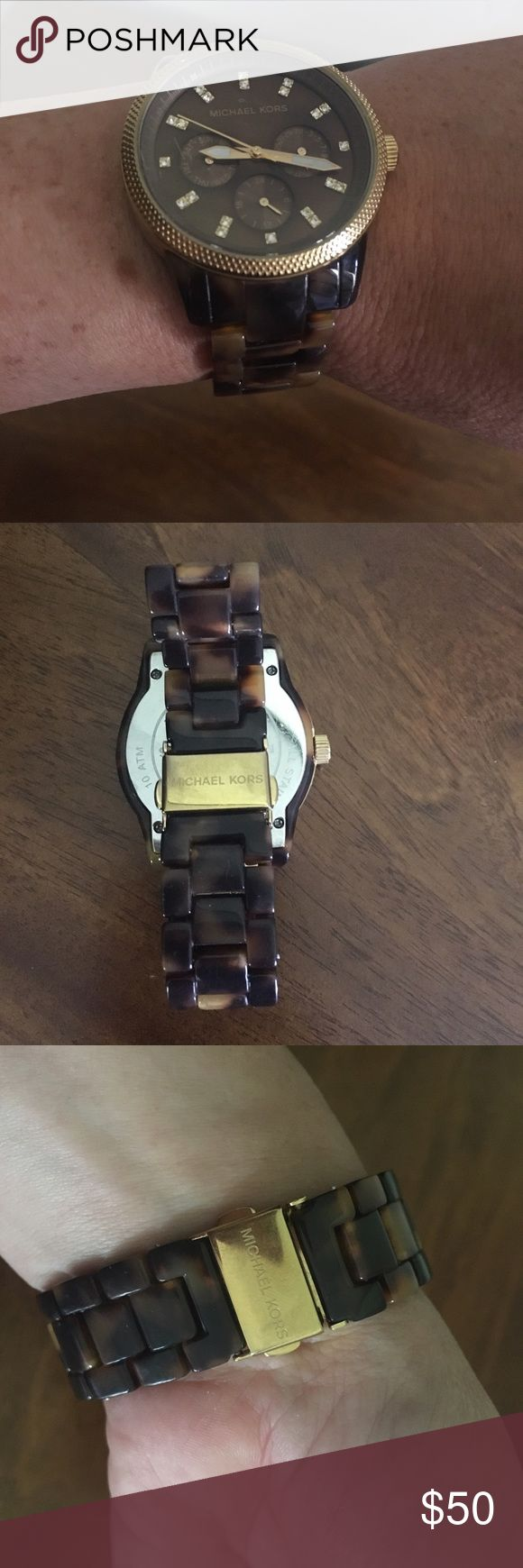 "MK tortoise shell watch. Michael Kors tortoise shell colored watch. Excellent condition with minor scratch on face. Hardly noticeable.  Inside circumference measures 6"". No longer have the extra links, no box. KORS Michael Kors Accessories Watches"