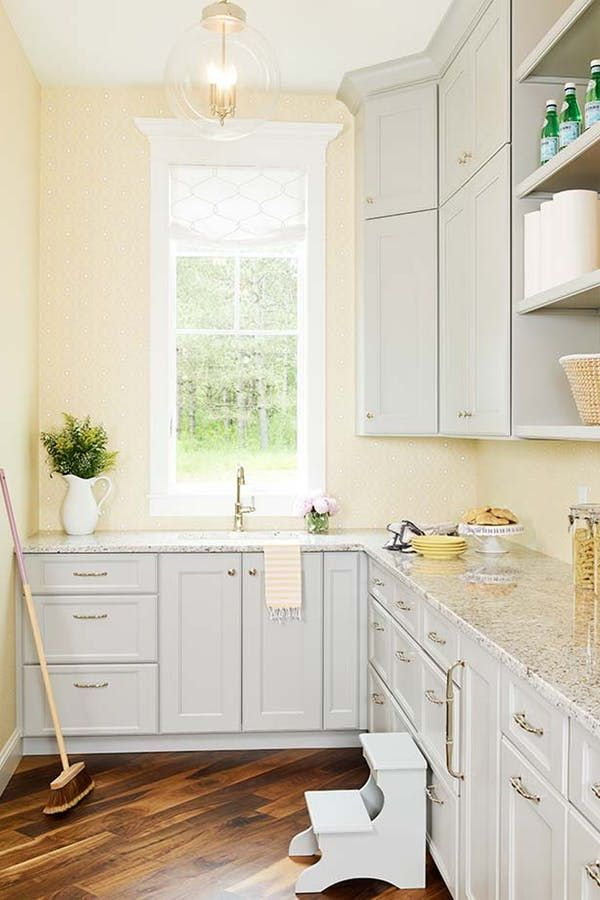 This Wallpaper Trend Is Taking Over Our Pinterest Feed Purewow Home Decor Trends Wa Yellow Kitchen Walls Kitchen Cabinets Painted Grey Grey Yellow Kitchen
