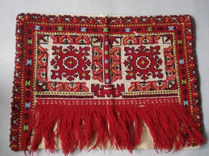 ANTIQUE MACEDONIAN FOLK EMBROIDERED PILLOW CASE