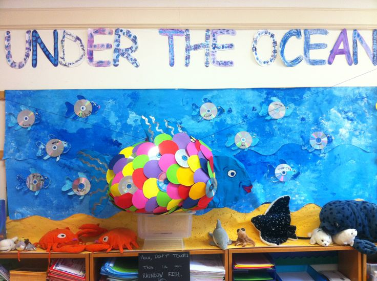 'UNDER THE OCEAN' classroom display with a huge 'papier-mache' Rainbow fish and little blue fish made with recycled CDs.