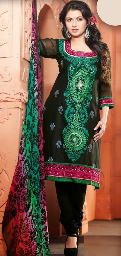 $61.04 Black Embroidered Cotton Churidar Salwar Kameez 26574