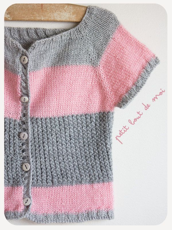 """A nice jacket in size 8/9 years. """"Le mimi"""" on Ravelry. English and French pattern."""
