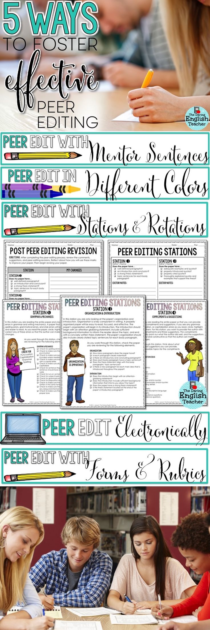 5 Ways to Foster Effective Peer Editing: Strategies and activities for middle school and high school writing and peer editing. English.