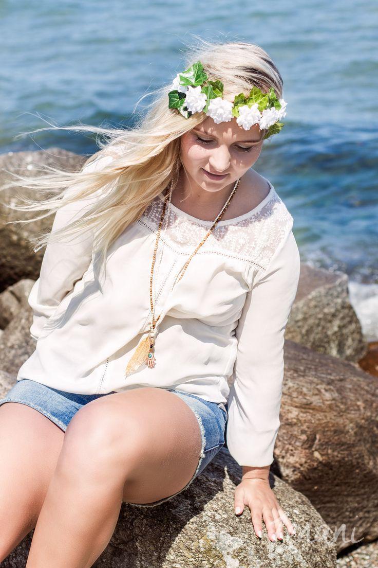 natural beauty, natural woman model photography, jewellery fashion on the beach, bohemian style jewellery brand, mai copenhagen, woman sitting on beach rocks