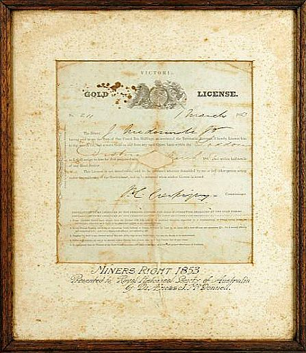 Licence for gold mining, 1853. Courtesy of the Powerhouse Museum