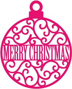 Silhouette Design Store - View Design #35571: merry christmas scroll ornament