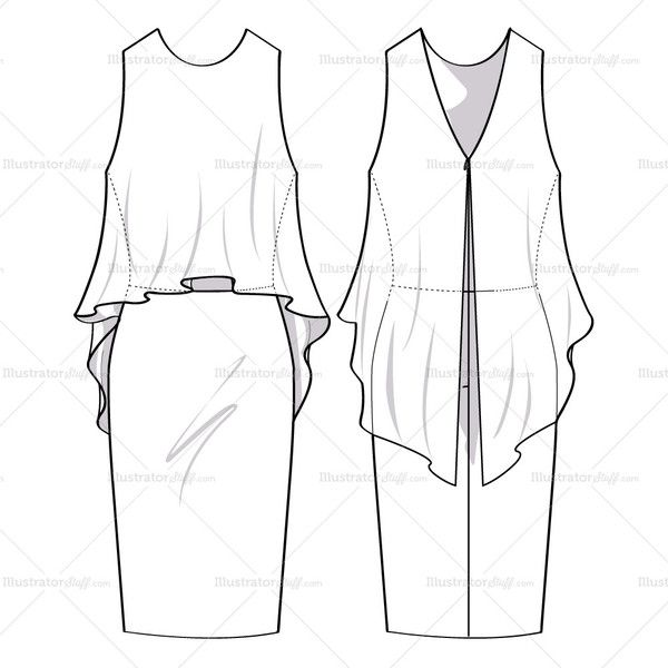 Women's dress with flowly top overlay with high low hem.  Pencil skirt fit on bottom, v-back with invisible zipper.  Illustration includes both front and back v