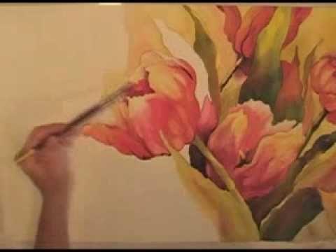 Рисую акварелью цветы.flv