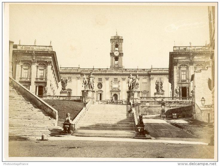 Italie, Roma, Campidoglio Vintage Albumen Print.   Tirage Albuminé   18x24   Circa 1880 - Foto
