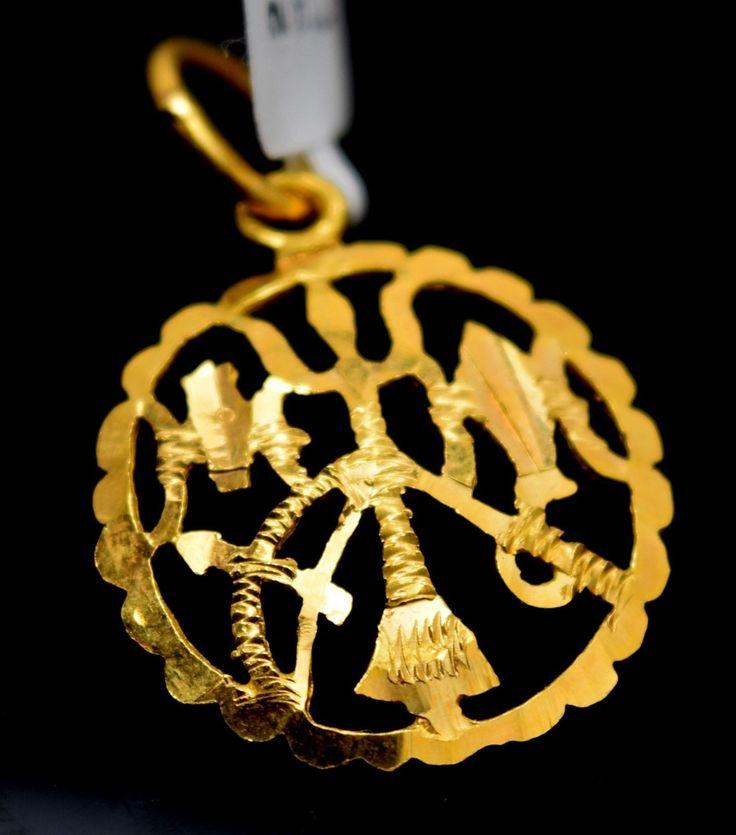 22k 22ct Solid Gold Hindu Religious Lord Shiv TRISHUL Charm Locket pendant p0101
