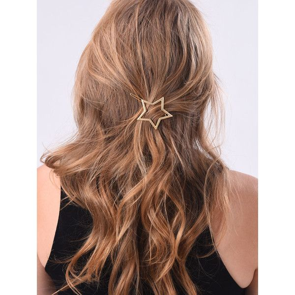 Gold Hollow Star Shape Hair Clip ($8.14) ❤ liked on Polyvore featuring accessories, hair accessories, hair and hair styles