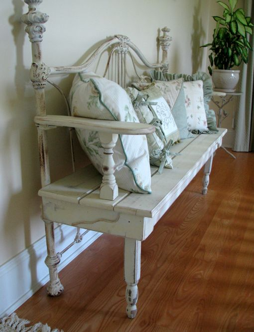 I love this bench that was crafted from an antique bed frame!