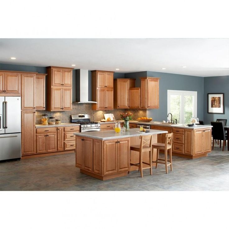 Light Oak Kitchen Cabinets: Kitchen, : Divine L Shape Menard Kitchen Design Ideas With