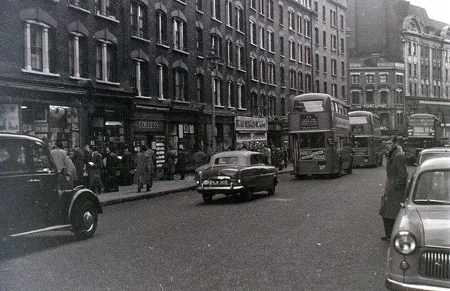 Charing Cross Road, London, 5 November 1955 by allhails, via Flickr