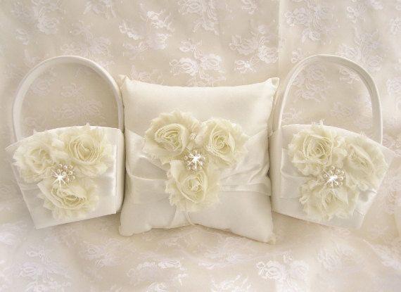 Vintage Flower Girl Basket And Ring Bearer Pillow : Two flower girl baskets and pillow ivory blossom ring