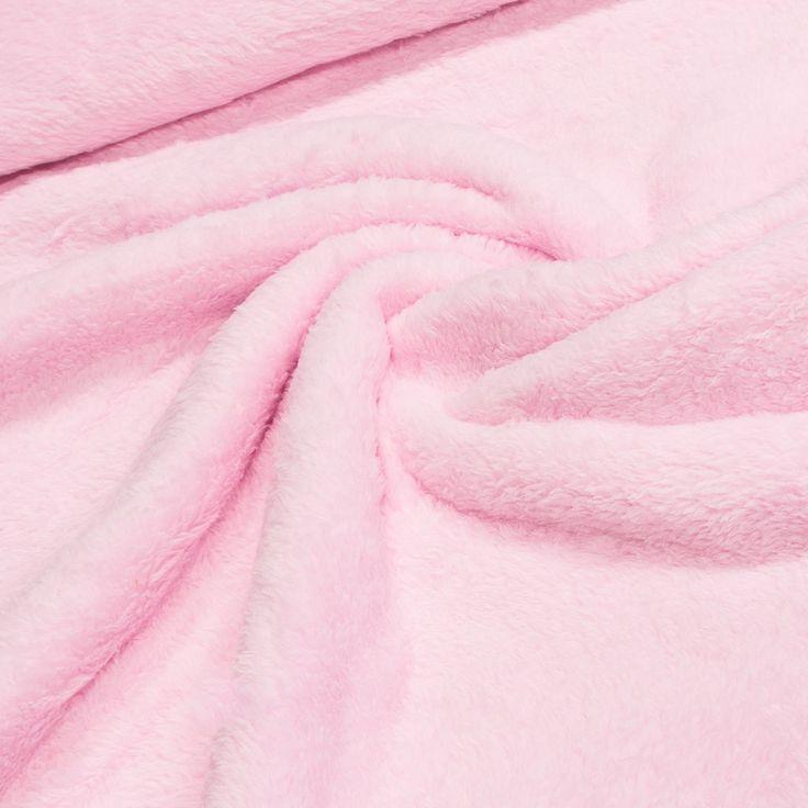 Mikroplyš / coral fleece 090 jednobarevná světle růžová, š.175cm (látka v metráži) | Internetový obchod Chci Látky.cz