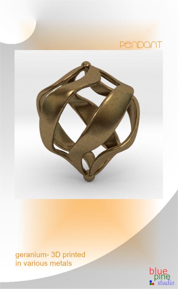 Geranium- a pendant 3D printed in various metals