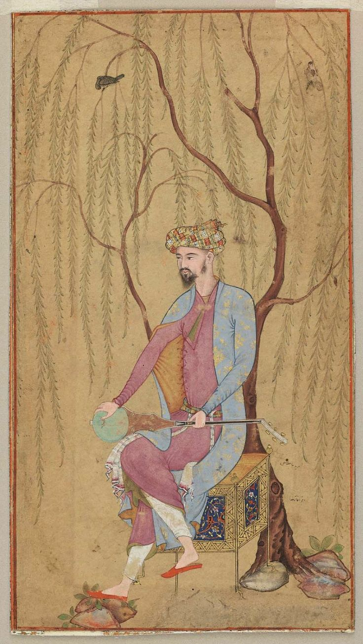An Elegant Man Seated under a Willow Tree Indian, Mughal, Mughal period, 1600–05 Attributed to Aqa Riza, Persian, active in India about 1580–1620 possibly Lahore, Northern India or Pakistan DIMENSIONS 14.7 x 8.2 cm (5 13/16 x 3 1/4 in.) MEDIUM OR TECHNIQUE Opaque watercolor and gold on paper http://www.mfa.org/collections/object/an-elegant-man-seated-under-a-willow-tree-148508
