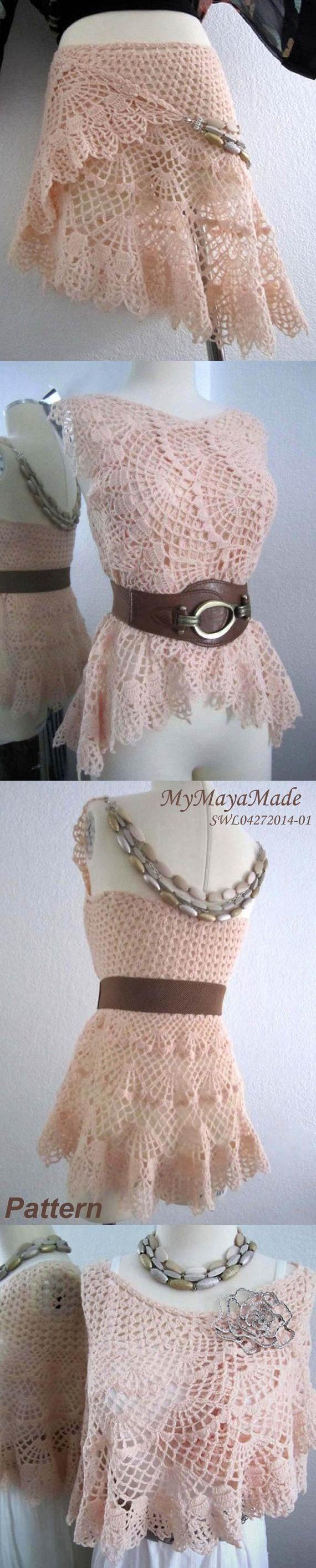 Crochet Pattern - Lithe and Pierced Crochet Dress, Shawl or Skirt
