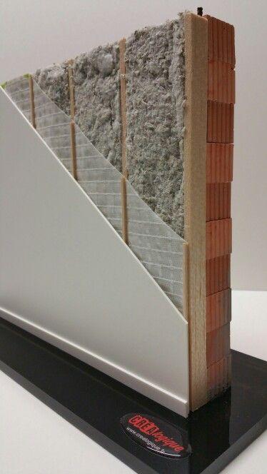 Isolation thermique en ouate de cellulose sur mur de brique. Échelle 1:10ème.  Retrouvez de nombreux autres modèles sur Www.crealogique.fr