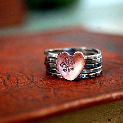 fleur de lis heart stack rings (ring, jewelry, metal, copper, silver, heart, fleur de lis, new orleans)