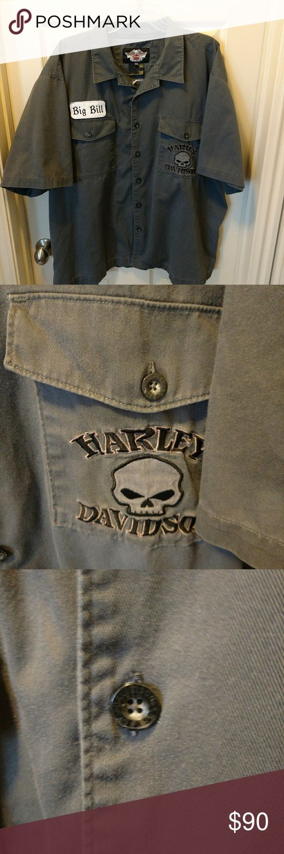 """HARLEY DAVIDSON WILLIE G SKULL """"BIG BILL"""" SHIRT HARLEY DAVIDSON MEN'S SHORT SLEEVE BUTTON UP WILLIE G SKULL EMBROIDERY SHIRT WITH BIG BILL NAME PATCH  SIZE XXL 2XL ARMPIT TO ARMPIT: 28"""" BASE OF COLLAR TO HEM: 28.5""""  VERY GOOD CONDITION WITH NO RIPS TEARS OR STAINS  #631 Harley-Davidson Shirts Casual Button Down Shirts"""