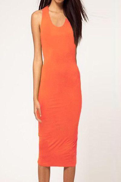 Orange Cut out Backless O Neck Bodycon Midi Dress
