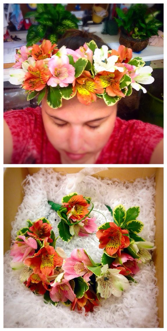 Flower crown and matching boutonnière made with white, pink, and orange alstroemeria by our designer, Janie, for a summer courthouse wedding this Friday. #flowercrown #flower #crown #pink #white #orange #bridal #wedding