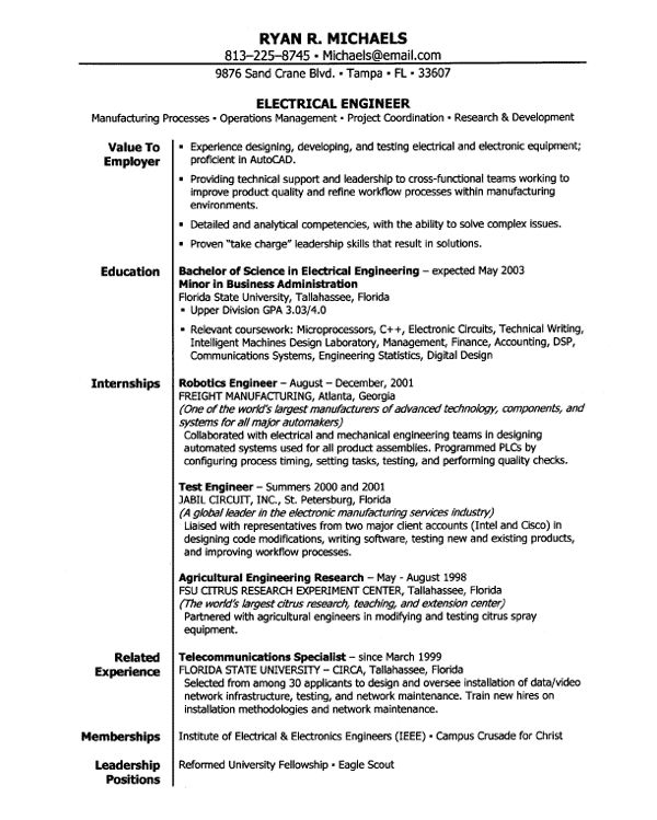 Electrical Engineering Entry Level Resume Samples Cv Template Word Cv Template Engineering Resume Templates